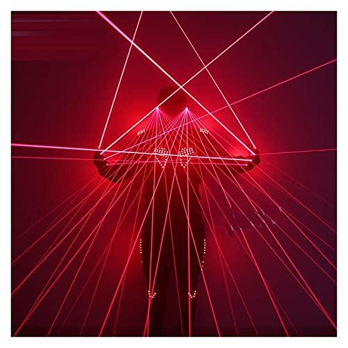 Science Fiction LED Strobe Light Clothing Laser Gloves Laser Glasses Bar Stage Singer Performance Fluorescent Props Jiaq (Color : Set of red, Size : XX-Large)