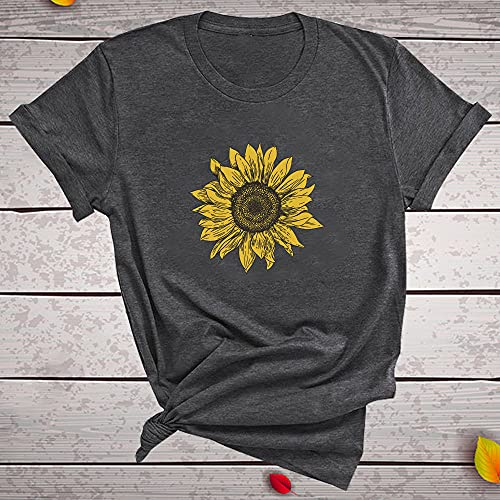 A-HXTM Camisetas Estéticas Girasol Impresión Mujeres Verano Camisetas Gráficas Camisetas De Manga Corta Mujeres Casual Aplicar Al Ejercicio De Uso Diario Corriendo Etc-Dg_XXL