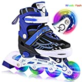 Laiozyen Rollers pour Enfants/Adolescents/Adultes, à Taille réglable - roulis Avant Luminous in Lines Skates Rollers en Ligne (Bleu, EU_31-34)