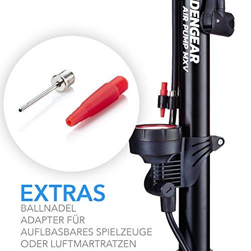 Camden Gear Fahrradpumpe, Luftpumpe für Fahrrad mit Alle Ventile z.B. Französisches und Auto Ventil, Standpumpe mit Manometer Fahrradluftpumpe Adapter - 4