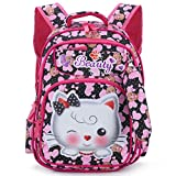 Tinytot Kitty School or School Backpack Bag for Girls with Pencil Pouch (Black & Pink) 26 L