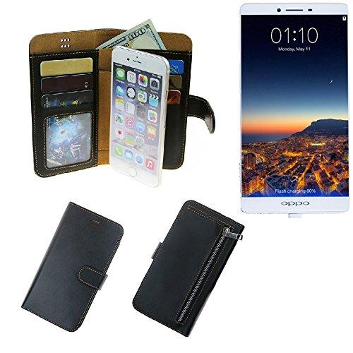 K-S-Trade Schutzhüll Für Oppo R7 Plus Schutz Hülle Portemonnaie Case Phone Cover Slim Klapphülle Handytasche E Handyhülle Schwarz Aus Kunstleder (1 STK)