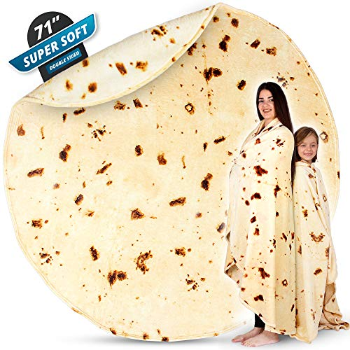 Zulay (71 Inch) Giant Burrito Blanket Double Sided - Novelty Big Burrito Blanket for Adult and Kids - Premium Soft Flannel Round Burrito Tortilla Blanket for Indoors, Outdoors, Travel, Home and More