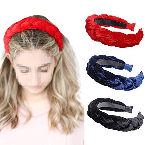 Velvet Braided Flock Padded Headband - AWAYTR Spanish Vintage Style Alice Hair band Matador Headband (Black + red + navy)