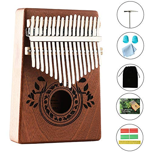Kalimba Thumb Piano 17 Keys with Study Instruction and Tune Hammer,Portable Mbira Sanza Finger Piano, Gift for Kids Adult Beginners Music instrument lover. (High End 17 Key)