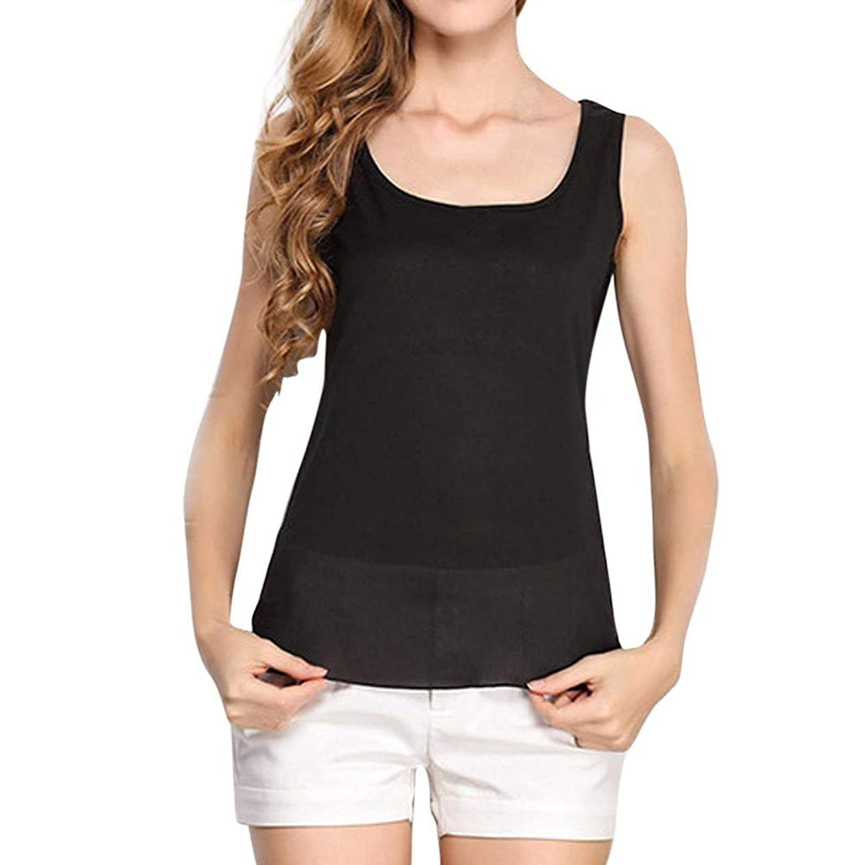 GOWOM Women O-Neck Sleeveless Pure Color Vest Chiffon Tops T-Shirt Blouse cchfhwlt994