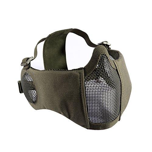 OneTigris Airsoft Faltbare halbe Maske Mesh Gesichtsmaske mit Gehörschutz (Army Grün)