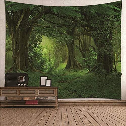 Aimsie Tapiz de pared de bosque de fantasía para niña, poliéster, 200 x 200 cm, color verde