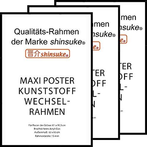empireposter 3 Stück Wechselrahmen Shinsuke® Maxi-Poster 61,5x91cm Qualitätsrahmen, Profil: 15mm - Kunststoff schwarz, Acrylscheibe beidseitig foliengeschützt