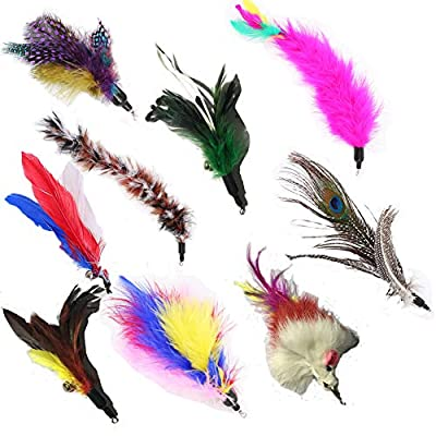 9Pcs Cat Feature Toys Feather Refill Cat Teaser Feather Toys Feather Spinning Attachment Feather Replacement Cat Catcher Toy Retractable Cat Wand Toys
