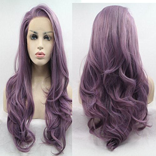 Lucyhairwig Long Wavy Synthetic Lace Front Wig Glueless Purple High Temperature Heat Resistant Fiber Hair Wigs For Women