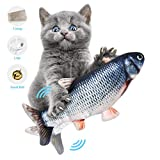 ODOLDI Electric Moving Cat Kicker Fish Toy, Realistic Flopping Fish, Wiggle Fish Catnip Toys, Motion Kitten Toy, Plush Interactive Cat Toys, Fun Toy for Cat Exercise (A)