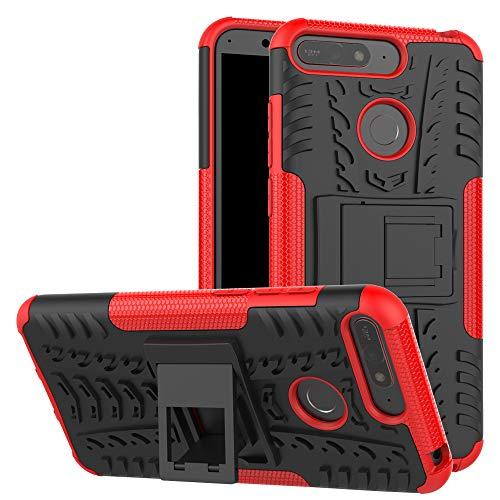 betterfon | Outdoor Handy Tasche Hybrid Case Schutz Hülle Panzer TPU Silikon Hard Cover Bumper für Huawei Y6 (2018) / Honor 7A Rot