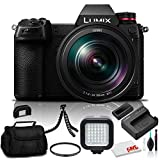 Panasonic Lumix DC-S1 Mirrorless Digital Camera with 24-105mm Lens (DC-S1MK) - Bundle - with LED Video Light + Soft Bag + 12 Inch Flexible Tripod + Cleaning Set + 77mm UV Filter