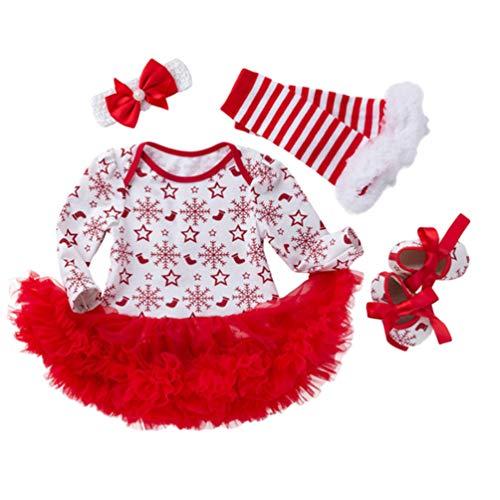 YuanDian Bebè Bambina 4pcs Natale Costume Completini Set Partito Vestiti Neonato Battesimo Babbo Natale Abbigliamento Natalizio Tutina Abiti + Fascia