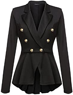 Jewelryfinds Women Double Breasted Gold Button Military Blazer Suit Coat Peplum Tops Jacket