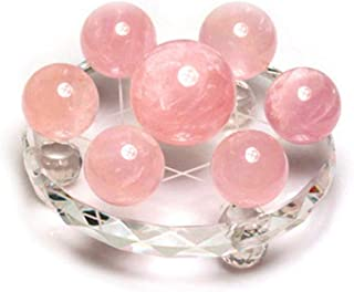 クリスタルボール ナチュラルピンクのクリスタルボール七星アレイガラス玉オフィスラッキーボール風水献身ギフトオーナメント クリスタル透明ボール