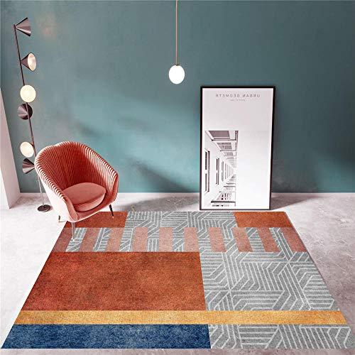 Alfombra Decoracion Mesa Salon Alfombra geométrica roja Gris Sala de Estar Antideslizante y Resistente a la decoloración alfombras niños Antideslizantes alfombras 160*230cm