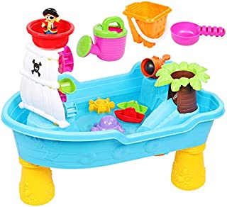GINKO Sand Water Table Center Indoor Outdoor Sand and Water Activity Table Sand Water Tables, Pirate Ship Beach Toys Kids Water Play Table, 2-in-1 Children Square Summer Seas Waterpark