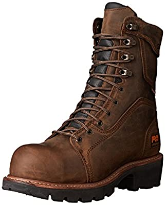 """Timberland PRO Men's 9"""" Composite Safety Toe Waterproof Insulated Logger Brown Leather 9 D - Medium from Timberland PRO"""