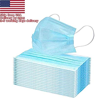 50 PCS Disposable Earloop Face Mask Blue Filters Bacteria Breathable Beauty Medical 3 PLY