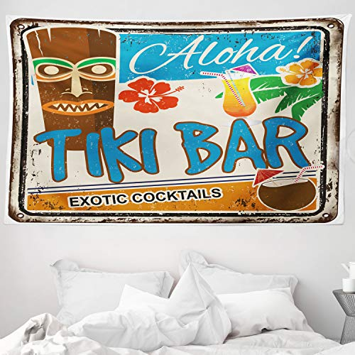 ABAKUHAUS Tiki-Bar Wandteppich & Tagesdecke Tiki-Bar Illustration Exotic Cocktails & Aloha Beschriftung Ferien Exotik aus Weiches Mikrofaser Stoff 230 x 140 cm Wand Dekoration Mehrfarbig