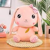 LYXBWT Lindo Conejito muñeco de Peluche de Juguete Zanahoria Conejo muñeca niña Almohada para Dormir muñeca 25cm Rosa