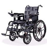 YOLL Eléctrica Silla De Ruedas con Motor Plegable para Mayores Power Chair,12ah 24v Batería De Litio Control Inteligente con Sistema De Asistencia De Frenos EABS,Doble Protección a/A