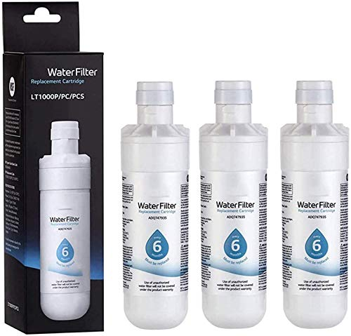 RSVT Lt1000p External Easy Install Durable Refrigerator Water Filter Replaceable White Remover Home Plastic Cleaning for Kenmore9980,6pack
