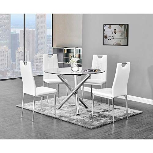 Best Master Furniture Crystal 5 Pcs Round Glass Top Dinette Set 5-Piece, White