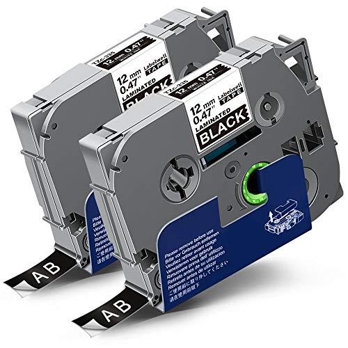 2x Labelwell 0.47 12mm x 8m Sostituzione Nastro Compatibile per Brother Tz Tze-335 Tze335 Tz335 Bianco su Nero per Brother PTouch PT-H100R PT-H100LB PT-D400 PT-E100VP PT-E300VP PT-E100 PT-H105 RL-700S