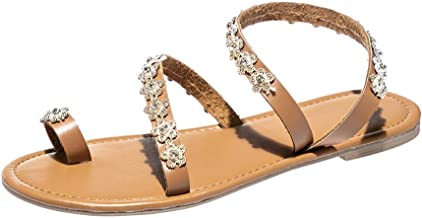 Women Sandals, LIM&Shop Bohemian Shoes Vintage Beaded Thong Shoes Toe Ring Sandal Flat Crystal Slippers Beach Wedding