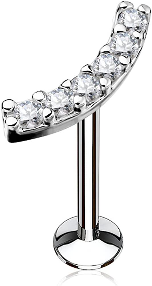Inspiration Dezigns Labret Stud Lined CZ Curve 316L Surgical Steel Internally Threaded