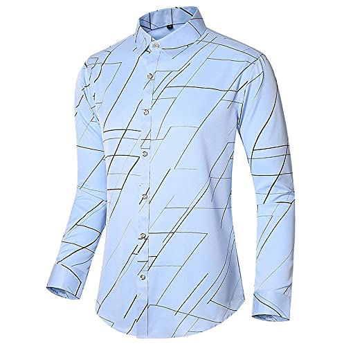 Camisa Simple de Manga Larga de Gran tamaño para Hombre, Tendencia de Moda, Estampado de Personalidad, Informal, cómoda, Camisa básica de Todo fósforo L
