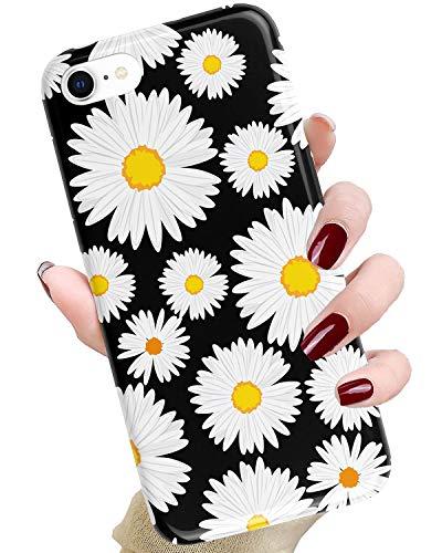 J.west , , Hülle niedliches Blumenmuster Druck Weiche TPU Silikon Cover für Mädchen/Frauen Flexibel Slim Design Drop iPhone 8/7 4.7 Zoll Black Daisy