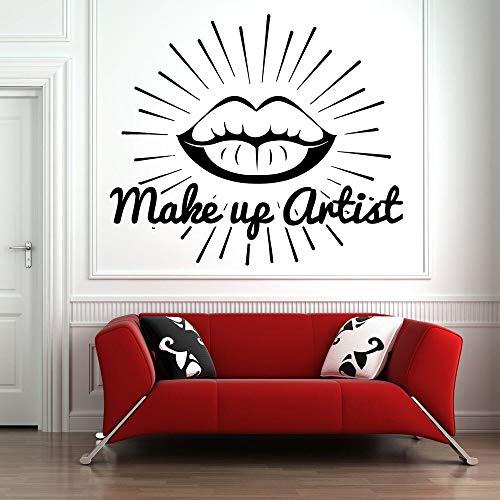 Salón de belleza tatuajes de pared lápiz labial maquillaje arte pegatinas de pared patrón niñas decoración de la sala de estar cosméticos