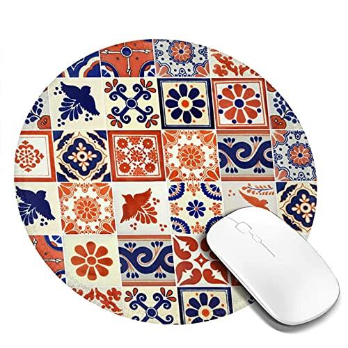 Mauspad Mexikanische Talavera Fliesen Keramik Marokkaner Runde Anti-Rutsch-Gummi-Mauspads für Spiele Arbeitscomputer Laptop-Mausmatte 4-tlg