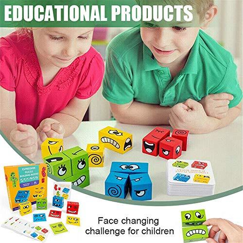 Expression Puzzle Building Cubes, Geometric Cube Gesichtsverändernde Interaktion Holzspielzeug, Interaktion Logisches Denken Training für Kinder Geschenkspiel (A)