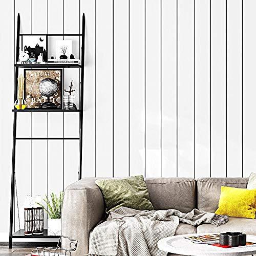 Moderno Papel Pintado Pared 3D Rayas Blancas Y Negras Tablones De Imitación De Madera Dormitorio Cocina Salon Pared De Fondo Hotel Tienda De Ropa Pvc Sin Pegamento 0.53 * 9.5 M