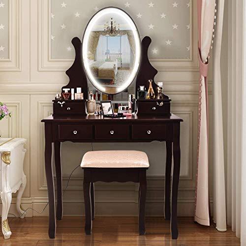 AOOU Vanity Table Set mit 3-farbigem Touchscreen-Dimmer, rundem Spiegel, Schminktisch mit 5 Schiebeschubladen und Touchscreen-Lichtsteuerspiegel für Schlafzimmer, Vintage
