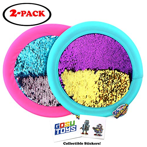 Soft Sequin Frisbee 12quot Holographic Flyers Glitter Shiny Shimmery Indoor Outdoor Flying Disk with 2 GosuToys Stickers 2 Pack Assorted Colors