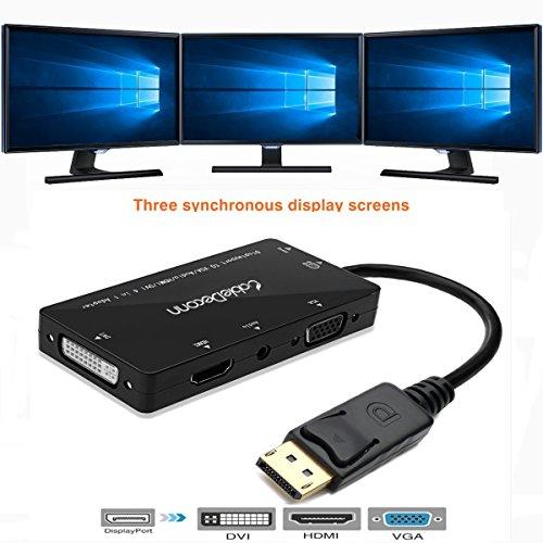 CABLEDECONN 4-in-1 Multifunktions-Displayport auf HDMI/DVI/VGA Adapterkabel mit Micro-USB Audio-Ausgang, Stecker auf Buchse, Konverter, unterstützt 3 Monitore gleichzeitig