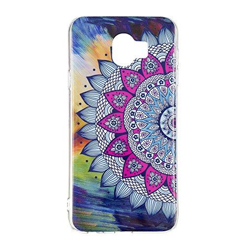 Herbests Kompatibel mit Samsung Galaxy J4 2018 Hülle Silikon Ultra Dünn Handyhülle Luminous Leuchtend Soft TPU Schutzhülle Crystal Silikon Kristall Durchsichtige Hülle Case,Mandala Blumen