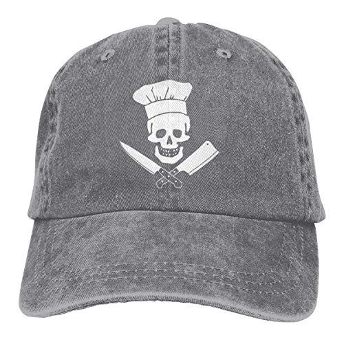 LENGDANU Gorra de béisbol para hombre y mujer Trucker Sombreros Denim Snapback Skull-Chef Cooking Skull