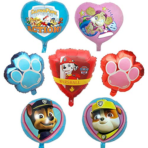 WENTS Ballon XXL Folienballon Luftballon Paw Patrol Hund Kindergeburtstag Deko Paw Patrol Geburtstag Fellfreunde Luftballons Dekoration Set Happy Birthday Deko-Luftballon Balloons, 7pcs