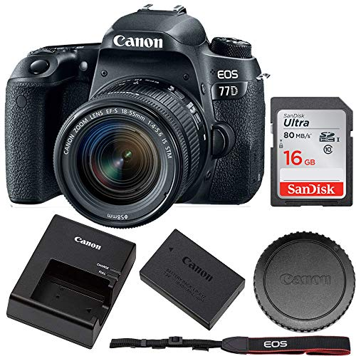 Canon EOS 77D EF-S 24.2MP 18-55 is STM (International Version) + 16GB Memory Card