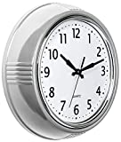 Bernhard Products Retro Wall Clock 9.5 Inch Silver Kitchen 50's Vintage Design Round Silent Non Ticking Quality Quartz Clock for Home/Office/Classroom (Satin Silver)