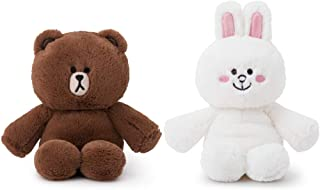 LINE FRIENDS Soft Plush Doll - Brown and CONY Character Rattle and Rustling Foil Plush Set