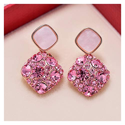LDH Diamond Earrings Simple Temperament Earrings for Girls S925 Silver Needle Cubic Zirconia Stud Earrings Pink 1.7 * 2.8cm