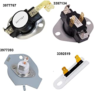 3387134 High-Limit Thermost 3977767 Dryer Thermostat 3977393 Thermal Fuse 3392519 Dryer Thermal Fuse for Whirlpool Kenmore Maytag KitchenAid Dryer Replaces Parts 3399693 WP3977767VP WP3977393